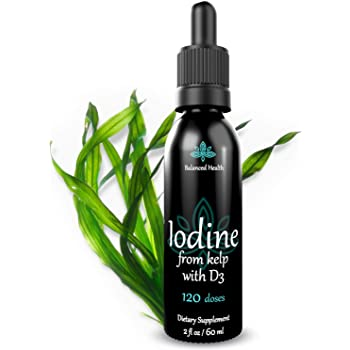 Natural Iodine Supplement from Kelp, Thyroid Support, Energy, Immunity, Detox Booster, 2 oz.
