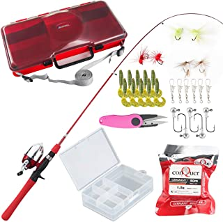 BLISSWILL Kids Fishing Pole Tackle Box Child Fishing Rod Rod and Reel Kit Lures Box Fishing Gifts for Kids Fishing Gear