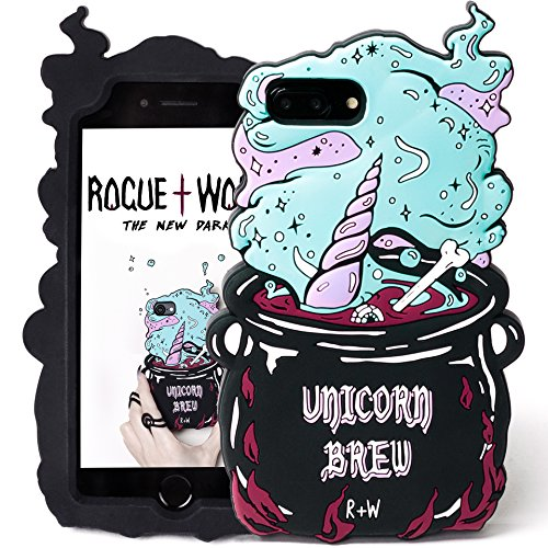 Rogue + Wolf Lindo 3D Unicorn Brew Phone Case Compatible con Funda iPhone 6+ 6s+ 7+ 8+ Plus Kawaii Silicona Protectora Carcasa