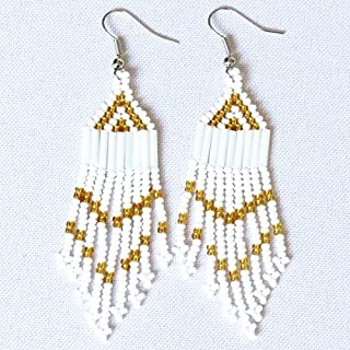 African Zulu beaded earrings - Chandelier NEW DESIGN - White and gold - Gift for her