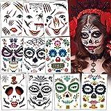 Sporgo Halloween Temporäre Gesicht Tattoos,10PCS Tag der Toten Gesichtstattoo Blut Schnitt Wunde...