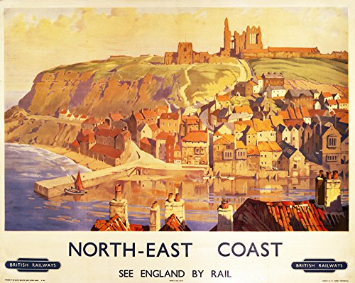 Half a Donkey The North East Coast - Retro Style Travel Poster Large Cotton Tea Towel