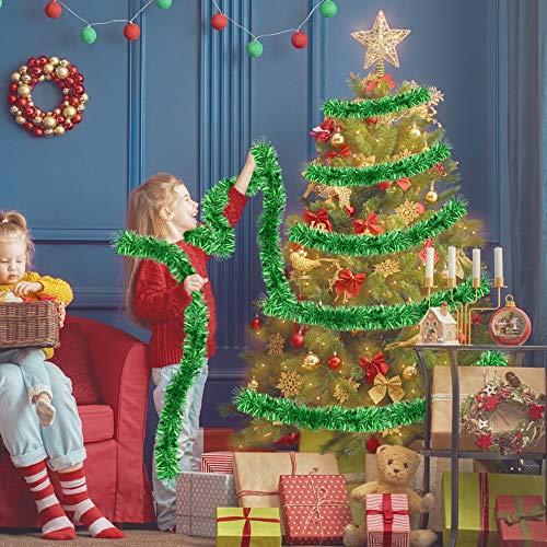 TANCUDER Weihnachten Lametta Girlande 6m Weihnachtsbaum Lametta Dekoration Glänzend Weihnachten Lametta Lametta Folien Girlande für Weihnachten, Halloween, Hochzeiten, Geburtstage (Grün)