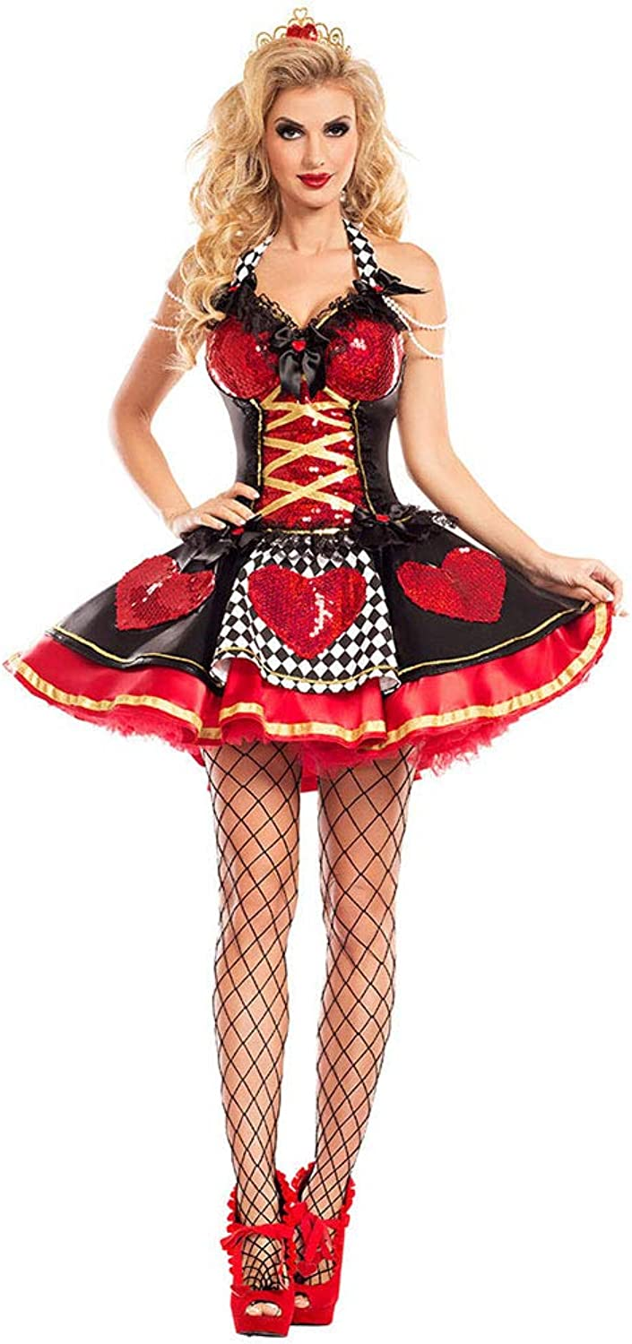 Role Playing Queen Costume, Halloween Party Red Queen Cosplay Uniform, Stage Ds Performance Clothing,L
