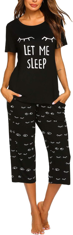 VOOMALL Women's Short Sleeve Pajama Sets Print Tops with Capri Pants Pjs Set Cute Sleepwear