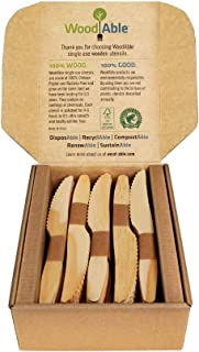 WoodAble - Disposable Wooden Knives | Alternative to Plastic Cutlery - Eco Biodegradable Replacements (100 Count)