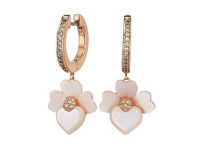 Kate Spade New York Precious Pansy Pave Drop Huggies Earrings (Cream Multi/Rose Gold) Earring