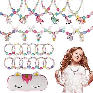 BAOQISHAN 25PCS Girls Beaded Unicorn Necklace and Bracelet Toddler Costume Jewelry Set Jewelry Girls Play Dress Up Pretend...