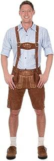 Bavarian Traditional Leather Trousers Lederhosen with Suspenders kastanienbraun