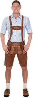 Edelnice Trachtenmoden Bavarian Traditional Leather Trousers Lederhosen with Suspenders kastanienbraun