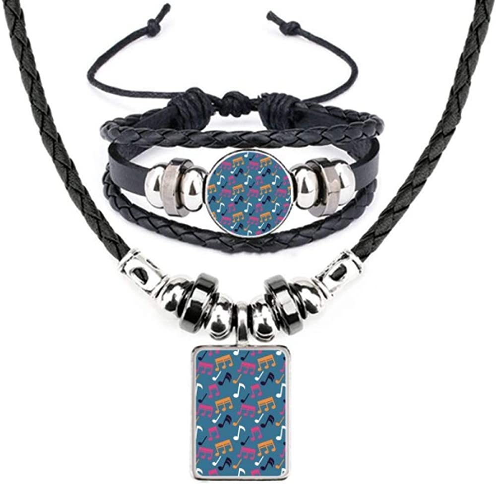 Colourful Music Notes Blue Leather Necklace Bracelet Jewelry Set