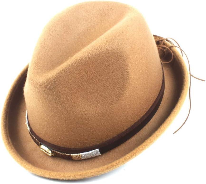 LHZUS Hats Fashion Hat Autumn Winter Women Jazz Hat Fedora Hat Wool Blend Outdoor Casual Gentleman Cap (Color : Khaki, Size : 56-58cm)