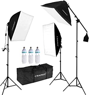 CRAPHY Professional Photo Studio Soft Box Lights Continuous Lighting Kit 3x135W 5000K Bulbs + 20