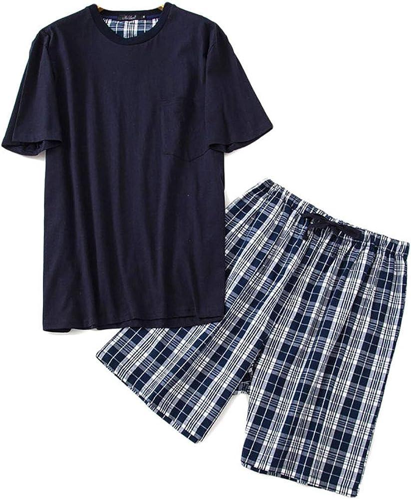 Howriis Men's Short Sleeve Cotton Pajama Set Lounge Sleepwear