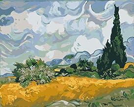 KLBPL Lienzos para Pintar con Numeros Ciprés De Van Gogh Pintar por Numeros para Adultos Niños Pintura,Mural Decoración Hogareña con Pinceles Y Acrílica 40,6X50,8 Cm(Sin Marco)