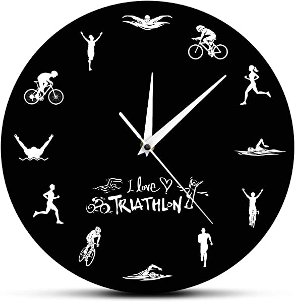Llsmting Wall Clocks For Living Room Triathlon Modern Clock Suitable For Office Bedroom Kids Room Hotel Classroom 12 Inch Acrylic Silent Movement Birthday Present