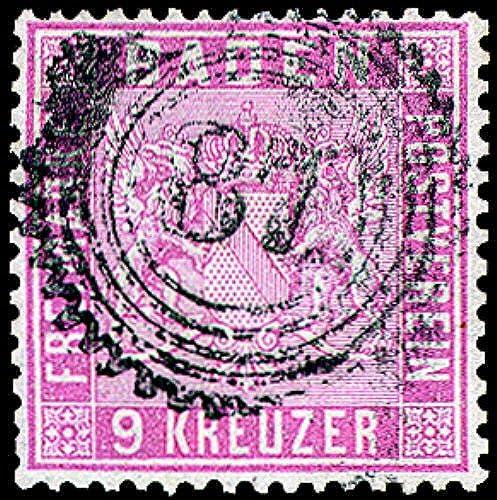 Goldhahn Baden Nr.12 gestempelt geprüft - Briefmarken für Sammler