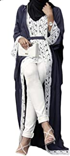 Wofupowga Women's Slim Fit Long Sleeve Gown Open Muslim Loose Abaya Arab Dress Navy Blue S