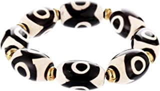 Prime Fengshui Protective Oval Black White Tibetan Dzi Beads Bracelet Amulet Bangle Attract Positive Energy and Good Luck