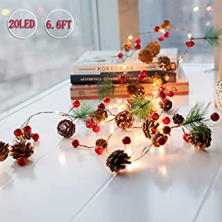 PHILIPOUS Christmas Lights, Garland with Lights Fairy Lights Pine Cone Berries Indoor and Outdoor Christmas Tree Lights Winter Holiday New Year Decor, Battery Powered. (2M 20 Lights) (Pine Cone)