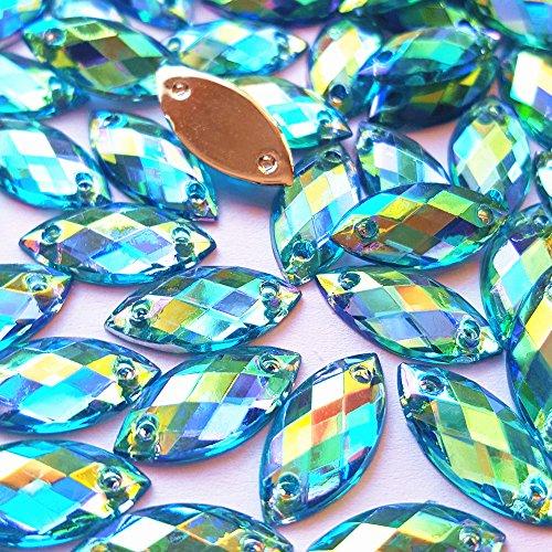 succi shan 7x15mm Horse Eye Shape Crystal AB Color Clear Sew On Acrylic Rhinestones Flatback Fancy Stones Sewing for Clothing Wedding Dress Decorations (Light Blue)