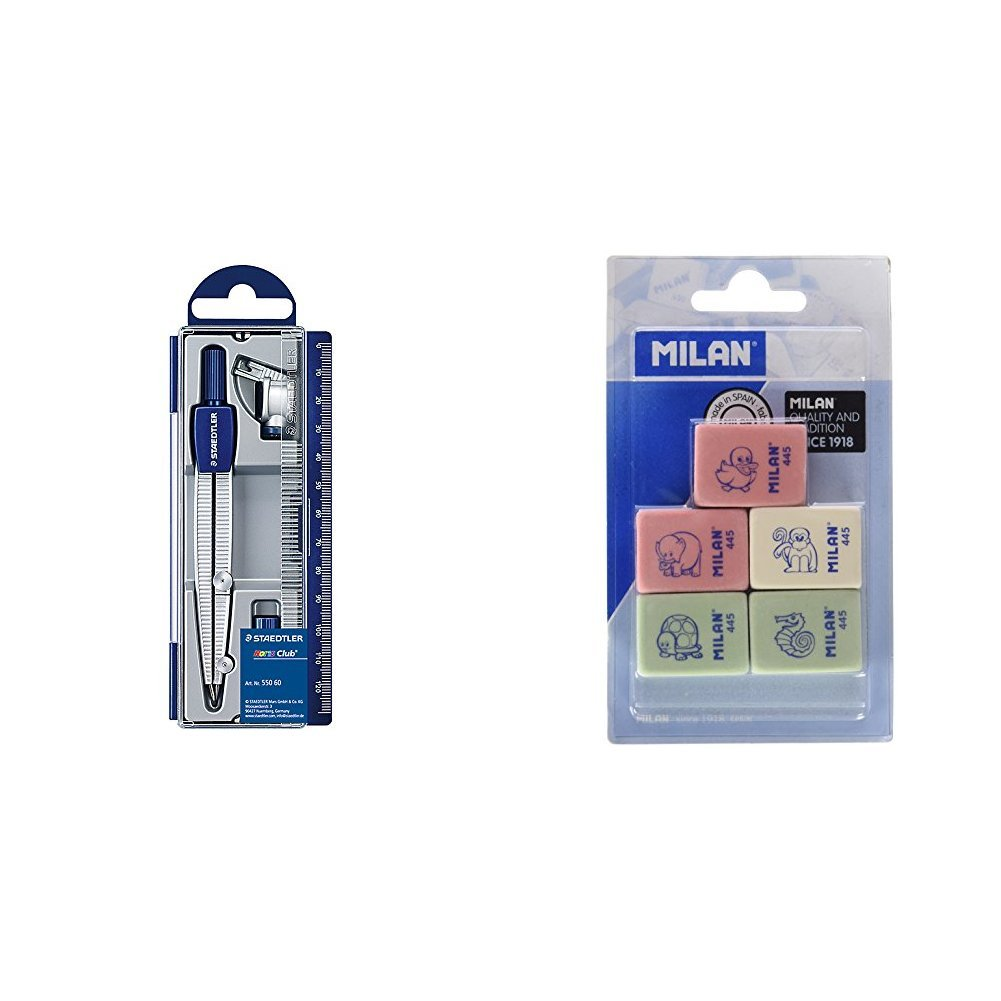 Staedtler - Set de dibujo: estuche, compás escolar, adaptador y tubo de minas + Milan BMM9222 - Pack de 5 gomas de borrar: Amazon.es: Oficina y papelería
