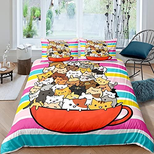 Funda de edredón para gato, tamaño king, estilo japonés, 3 piezas, bonito juego de cama para mascotas, diseño de rayas coloridas