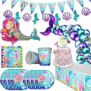 Little Mermaid Party Supplies Mermaid Birthday Parties Disposable Tableware Kit Girl cake topper 1st First Birthday Under ...