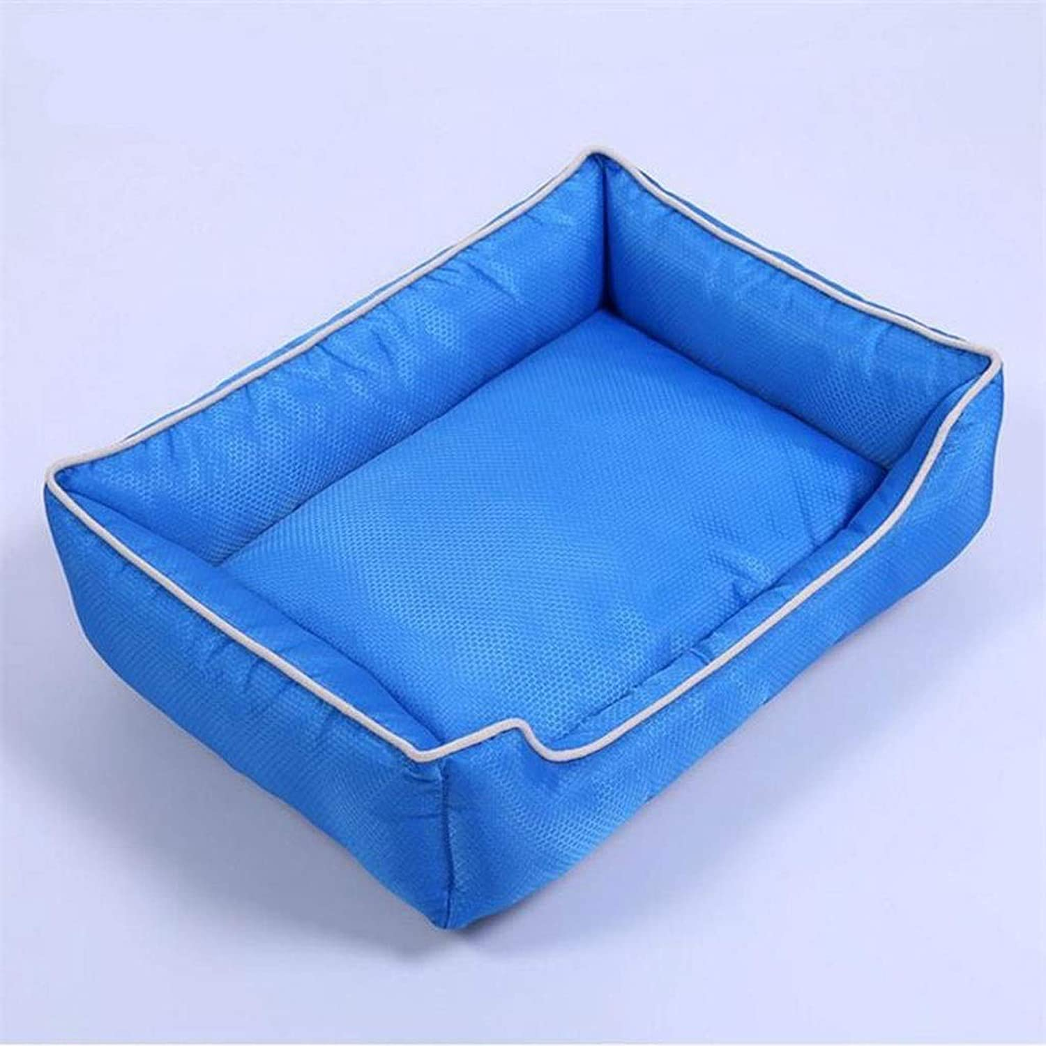 BarryL Dog Bed Cat Bed Football Grid Waterproof Oxford Cloth Pet Nest Removable And Washable Small Medium And Large Dogs Kennel Cat Litter Pet Mat Pet Bed (color   bluee, Size   L)