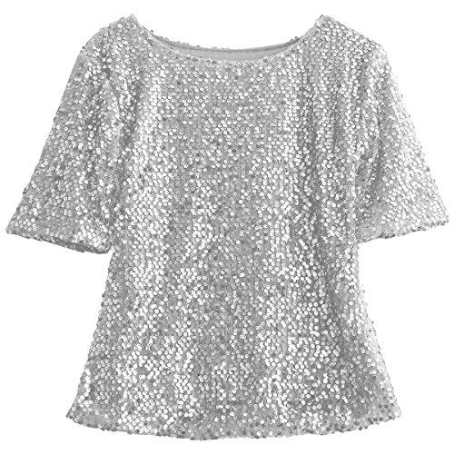 Camiseta Mujer Lentejuelas de Moda Brillantes Camiseta Casual Dorado Manga Corta sin Cuello Redondo Cita, Bailar, Fiesta, Boda, Salir de Noche, etc (Plateado, L)