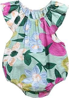 طفل الفتيات الصيف بلا أكمام طباعة داخلية القطن ملابس الطفل زهرة عارضة طفل رومبير (Color : Green, Kid Size : 3T)