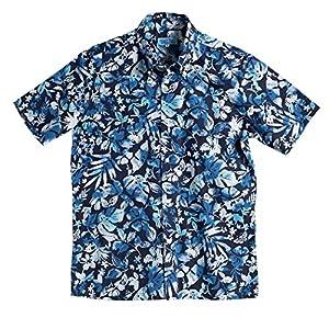 [MAJUN (マジュン)] 国産シャツ かりゆしウェア アロハシャツ 結婚式 メンズ 半袖シャツ ボタンダウン ウォーターガーデン ネイビー×ブルー 6L