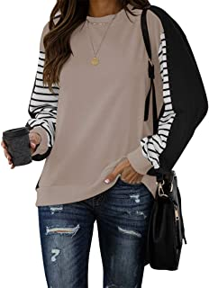 PRETTODAY Women's Color Block Pullovers Crew Neck Striped Print Sweaters Long Sleeve Tops