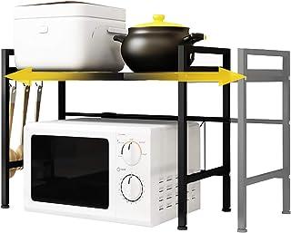 Grille De Four à Micro-Ondes Extensible, YEEGO DIRECT 2 Niveaux Étagère de Rangement pour Cuisine avec 3 Crochets de Suspe...