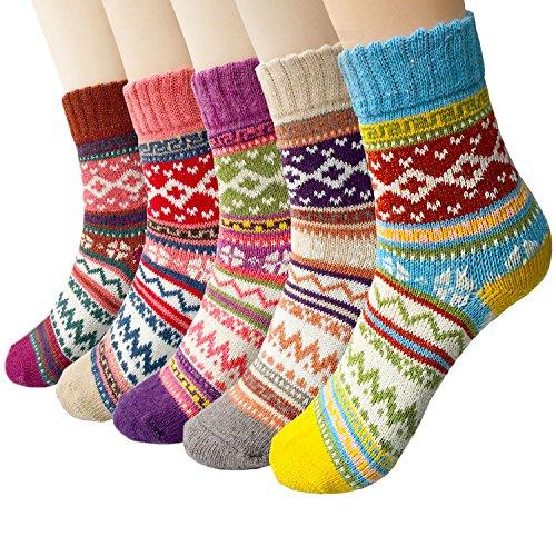 5 Paar Winter Wolle Damen Socken, Bunte Gemusterte Stricksocken MEHRWEG