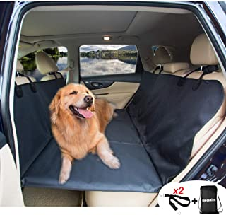 AMOCHIEN Backseat Extender for Dogs - Backseat Pet Bridge, Dog Hammock Covers Entire Back Seat, Rear Pet Foam Platform Divider Barrier Water Resistant | Up to 100 lbs | Universal Fit Black