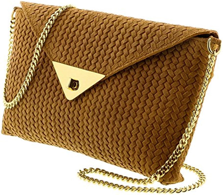 HS1181 CU TIA Tan Leather Clutch Shoulder Bag for womens