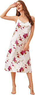 SheIn Women's Satin Floral Print Night Dress Sleeveless Strappy Cami Sleepwear