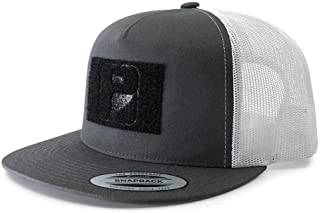Pull Patch Tactical Hat | Authentic Snapback 2-Tone Flat Bill Trucker Cap | 2x3 in Hook and Loop Surface to Attach Morale Patches | 5 Panel | Charcoal and White | Free US Flag Patch Included