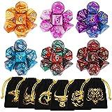 QMAY Polyedrische Würfel, 6 x 7 (42 Stück) Doppel-Farben Tisch Spiel Würfel für Dungeons and Dragons Pathfinder DND RPG MTG, 6 Set von d20, d12, 2 d10 (00-90 und 0-9), d8, d6 und d4