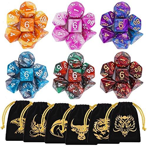 QMAY Dadi da gioco, 42 Pezzi Dadi Poliedrici da Gioco Doppio-Colore per RPG Dungeons e Dragons Pathfinder, 6 Set di DND MTG RPG d20, d12, 2 d10 (00-90 e 0-9), d8, d6 e d4