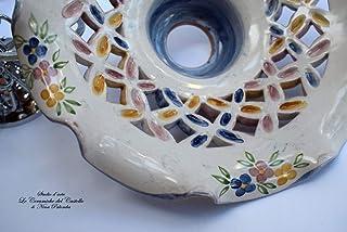 Lampadario Traforato diametro 25 centimetri Linea Fiori Misti Bordo Blu Ceramica Le Ceramiche del Castello Pezzo Unico Han...