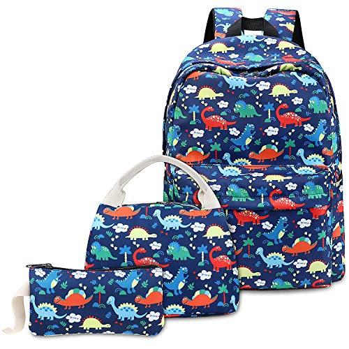 Dinosaure Cartable Garçon pour Primaire Collège, Sac à Dos Scolaire avec Sac à Lunch Sac à Crayons (Bleu)