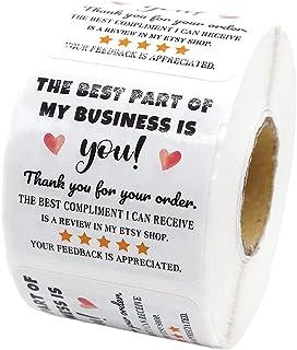 BE YOU TIFUL Dank U Label Stickers,500Pieces Dank U voor Uw Bestelling Stickers Handgemaakte Seal Labels voor Kleine Bedri...