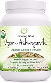 Amazing India USDA Certified Organic Ashwagandha Powder (Non-GMO,Gluten Free) 16 oz - Raw, Vegan- Gluten-Free, Plant-Based Nutrition � Promotes Cardiovascular Health, Immune Function, Relaxation