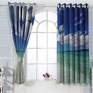 Ocean Blackout Curtains for Bedroom Island Sea Life Wavy Vivid Open Sunny Sea Shore Sand Beach Art Print Image Thermal Insulated Soundproof Curtain W96 x L96 Inch Bue Teal Cream White