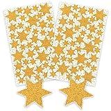 AVERY Zweckform Art. 52225 Aufkleber Weihnachten 86 goldene Sterne (glitzernde Weihnachtssticker aus Papier, selbstklebende Weihnachtsdeko für Karten, Geschenke, DIY) 2 Bogen mit je 43 Sternstickern -