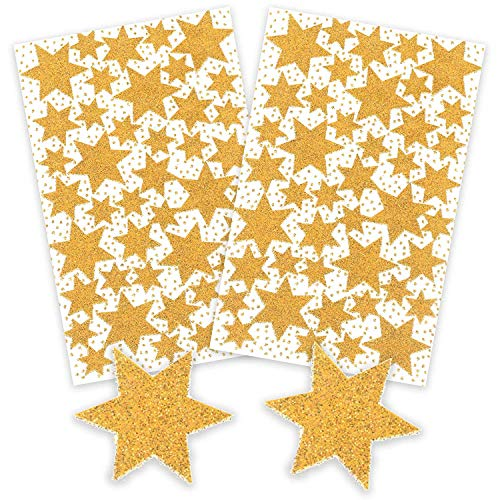 AVERY Zweckform Art. 52225 Aufkleber Weihnachten 86 goldene Sterne (glitzernde Weihnachtssticker aus Papier, selbstklebende Weihnachtsdeko für Karten, Geschenke, DIY) 2 Bogen mit je 43 Sternstickern