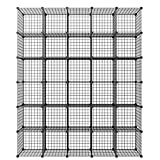 """KOUSI 14""""x14"""" Wire Cube Storage, Metal Grid Organizer, 30-Cube Modular Shelving Unit, Stackable Bookcase, Ideal for Living Room, Bedroom, Office, Garage"""
