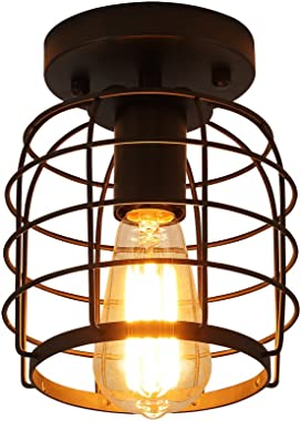Create for Life Industrial Vintage Flush Mount Ceiling Light,Rustic Metal Cage Pendant Lighting Lamp Fixture for Hallway Stairway Kitchen Garage, E26, Black Painting Finish